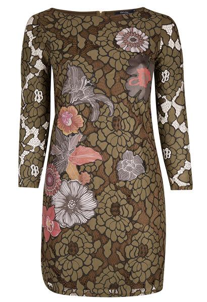 Tweekleurige kanten jurk met applicatie - Kaki
