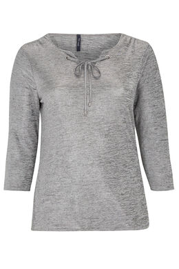 T-shirt met ringetjes, glanzend tricot, Gris Chine