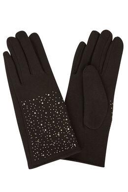 Handschoenen met strassteentjes Zwart