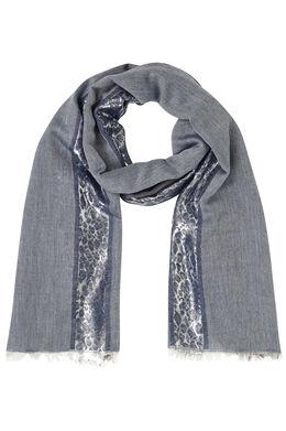 Sjaal met lurexstrook, Marineblauw
