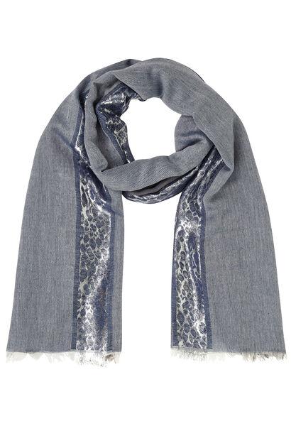 Sjaal met lurexstrook - Marineblauw
