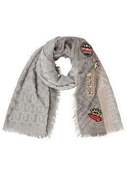 Grote sjaal van jacquard met patches Grijs