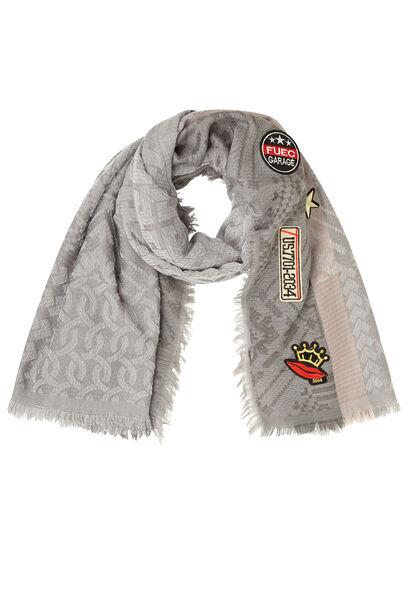 Grote sjaal van jacquard met patches - Grijs