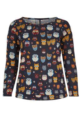 T-shirt van bedrukt tricot met uilenprint, Marineblauw