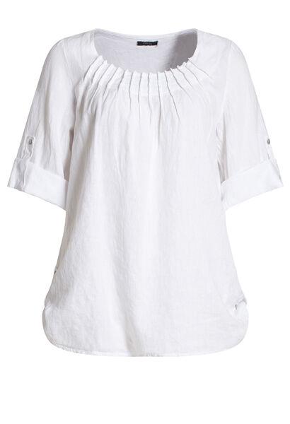 Ruime bloes in linnen - Wit