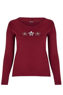 T-shirt coton bio dessin 3 marguerites, Bordeaux