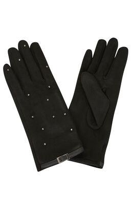 Handschoenen met lussen en studs Zwart