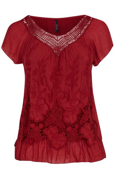 Geborduurde blouse en hals met knoopwerk - Tomaat