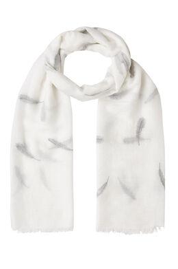 Sjaal met pluimenprint en lurex, Wit