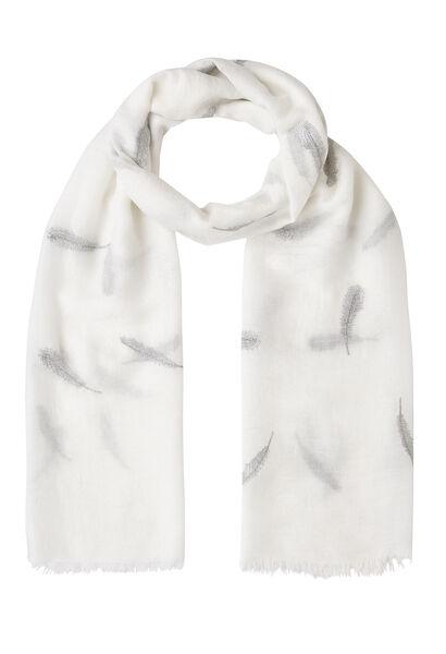 Sjaal met pluimenprint en lurex - Wit