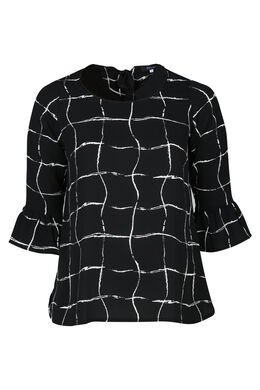 Geruit overhemd met volantmouwen, Zwart
