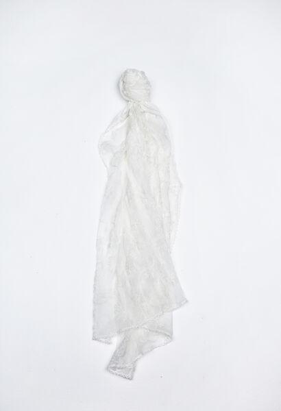 Sjaal van voile met borduurwerk - Ecru