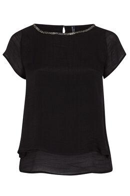 Dubbel effen shirt met halsparels Zwart