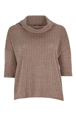 T-shirt col boule maille chaude zigzag, Blush