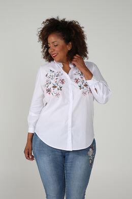 Chemise brodée de fleurs, Blanc