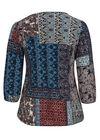 T-shirt in bedrukt tricot, Bordeaux