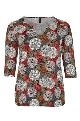 Bedrukt T-shirt van soepel tricot, Bordeaux
