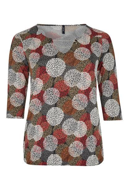 Bedrukt T-shirt van soepel tricot - Bordeaux