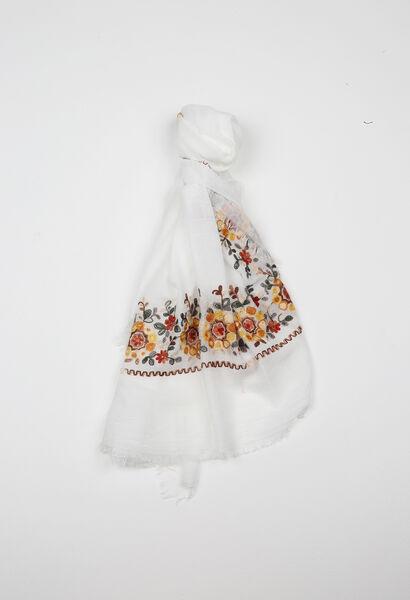 Foulard met geborduurde bloemen - Wit