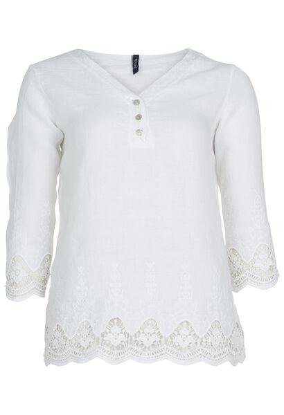 Blouze van linnen met borduursel en kant - Wit