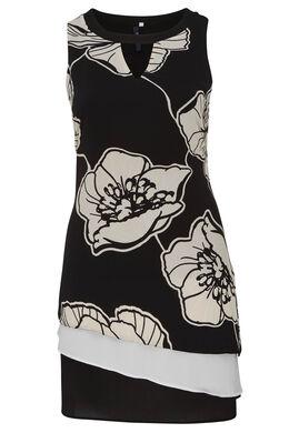 Jurk van crêpe met grafische bloemenprint., Zwart
