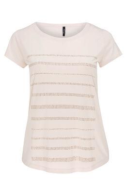 T-shirt en maille unie et strass, Blush