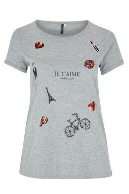 T-shirt van gevlamde viscose met lovertjes, Gris Chine