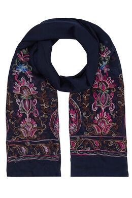 Sjaal met geborduurde folklorebloemen, Marineblauw