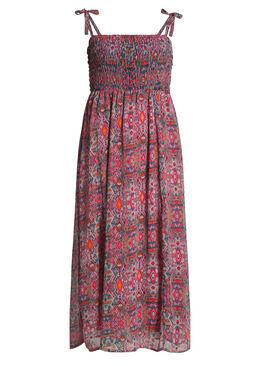 Lange jurk met dunne schouderbandjes Fushia