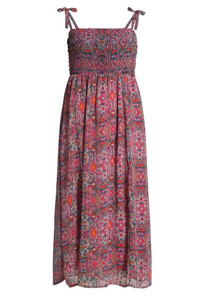 Lange jurk met dunne schouderbandjes - Fushia