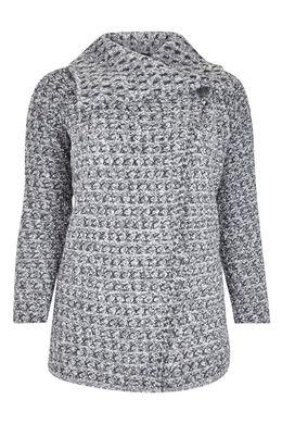 Vest met grote kraag, warm tricot, Lichtgrijs