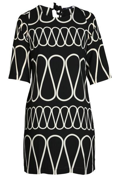 Hoesjurk met zigzagprint - Zwart