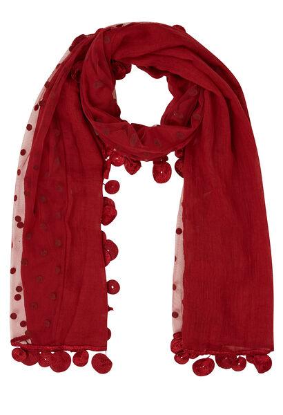 Effen sjaal in materiaalmix - Tomaat