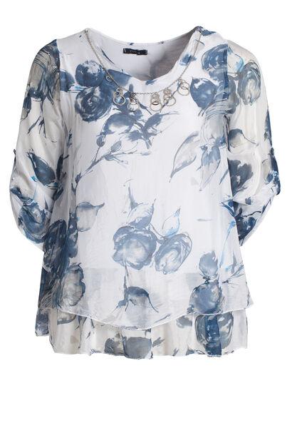 Dubbele bloes met halssnoer - Wit