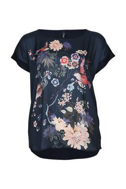 Satijnachtig T-shirt met Japanse print, Marineblauw