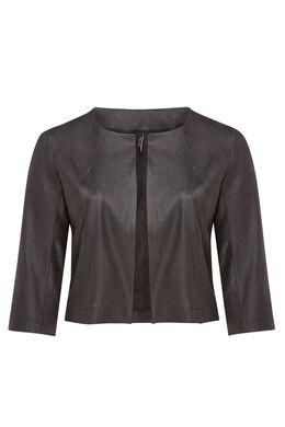 Veste courte en faux cuir sauvage, Noir