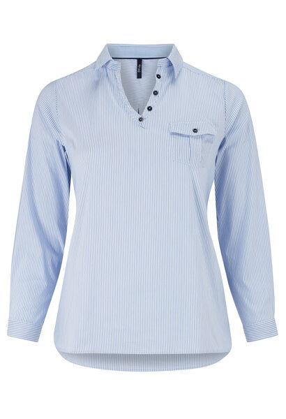 Gestreept shirt, V-hals met knoopjes - Lichtblauw