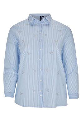 Gestreept overhemd, geborduurde vogels, Lichtblauw