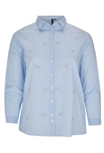 Gestreept overhemd, geborduurde vogels - Lichtblauw