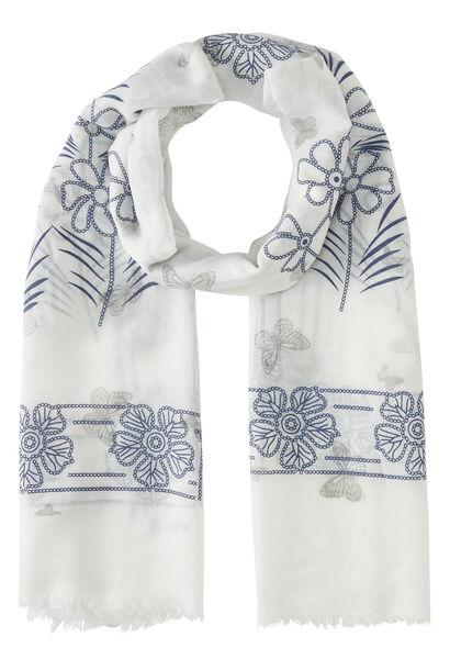 Foulard imprimé fleurs et papillons - Blanc