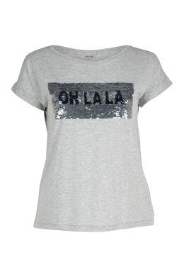 T-shirt met omkeerbare lovertjes, Gris Chine