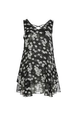 Gebloemde jurk, Zwart