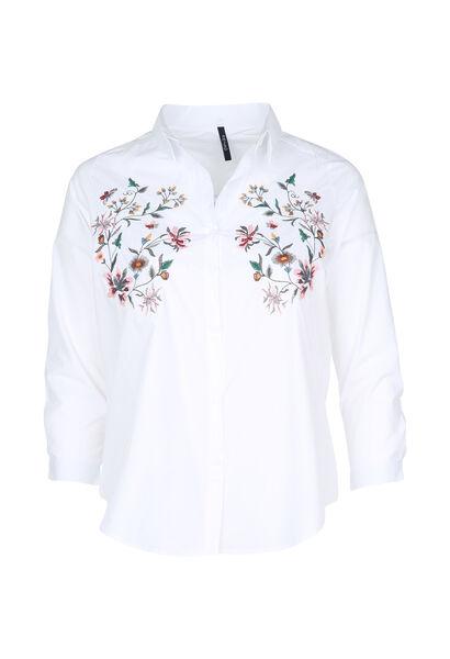 Chemise brodée de fleurs - Blanc