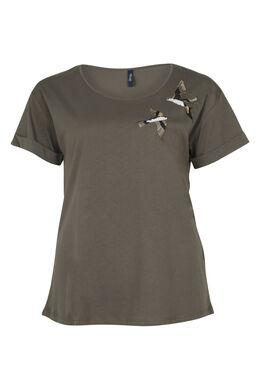 T-shirt brodé oiseaux et sequins, Kaki