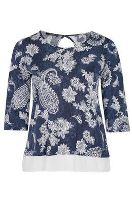 T-shirt met open rug en kant onderaan, Denim