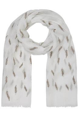 Sjaal met pluimenprint, Beige