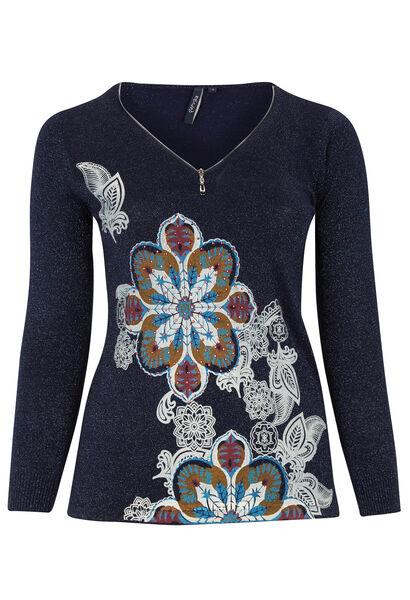 Trui met ritshals en bloemenprint - Marineblauw
