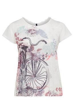 T-shirt met fietsprint, Ecru