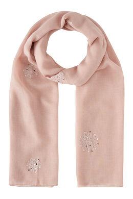 Sjaal geborduurd met bloemen en lovertjes, Blush