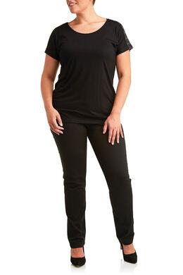 T-shirt van tricot met studs, Zwart
